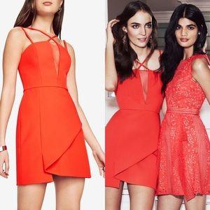 BCBGMaxazria Jewel Red LINZEE Cutout Dress BCBG